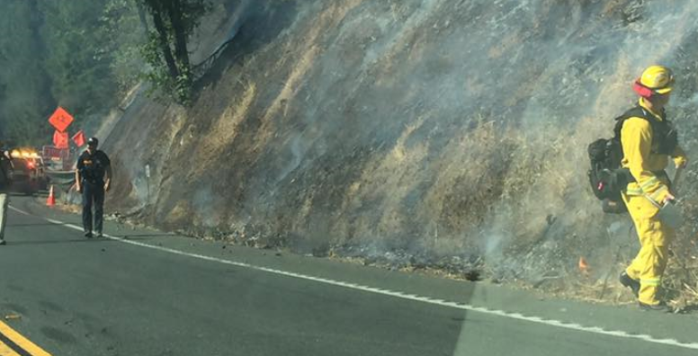 Fire near Hwy 101 north of Willits