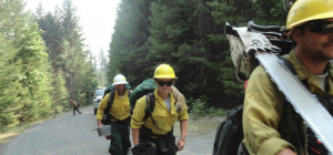 Forestry Service workers headed in to fight fires in the area of the Ruth Complex.