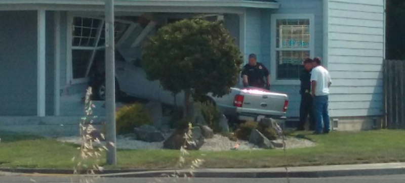 A truck crashed into a Fortuna home today.