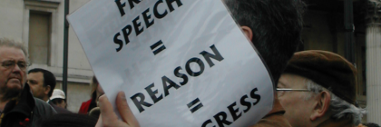 By Simon Gibbs from London, United Kingdom (Free speech = reason = progress Uploaded by Cirt) [CC BY 2.0 (http://creativecommons.org/licenses/by/2.0)], via Wikimedia Commons