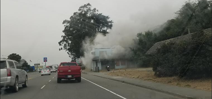 Fire at the Blue Heron on Broadway in Eureka