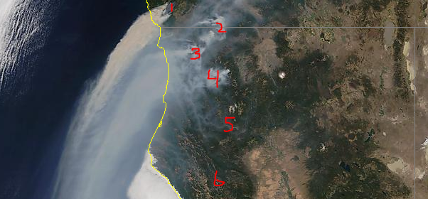 Smoke blowing from fires impacting the Emerald Counties. [Image from Modis on August 20.]
