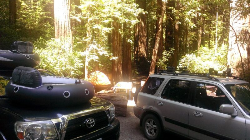 Innertubes at a campsite