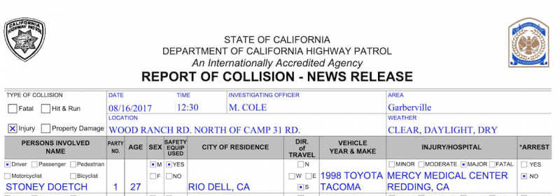 On 08/16/2017, at approximately 1230 hours, a Stoney Doetch was driving a  1998 Toyota Tacoma south on Wood Ranch Rd. approximately one mile north of  Camp 31 ... - CHP Releases Name Of Driver Who Suffered Major Injuries In Today's
