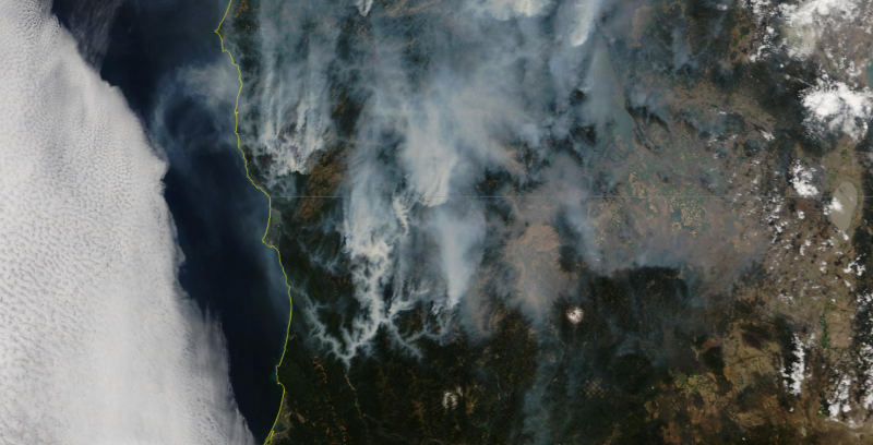 Modis smoke NOrthern Ca