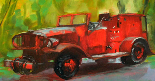 old fire truck painting by Cietha Wilson