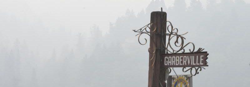 wildfire smoke blankets the hills around Garberville