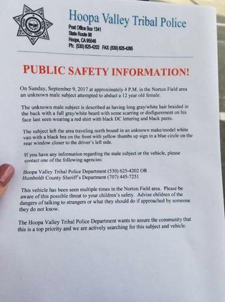 Flyer about Child Abduction Attempt