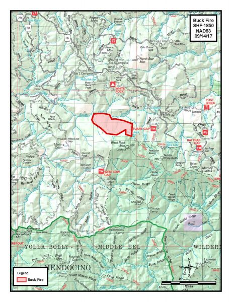 Map of Buck Fire 9/14/17