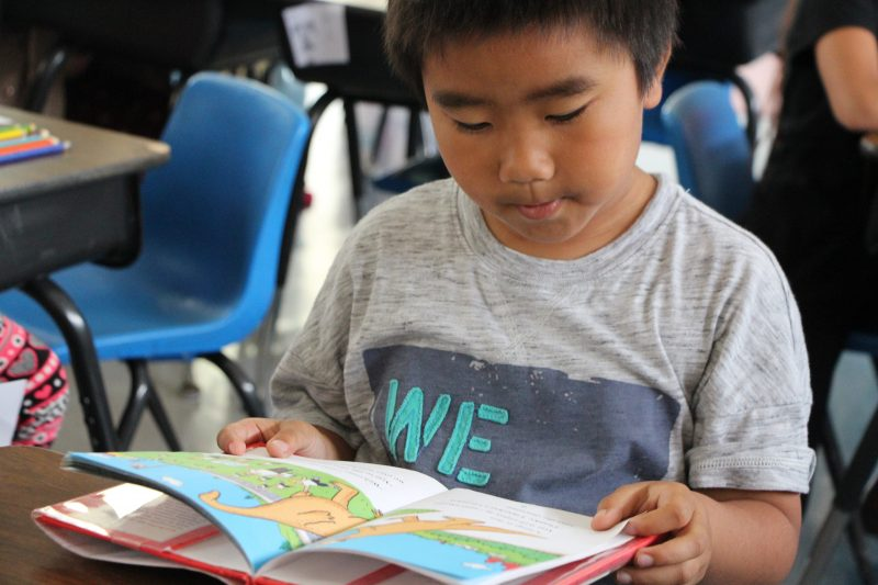 Elijah Thao, 2nd Grader at Grant School, getting ready for the Read-a-Thon in the after school program.