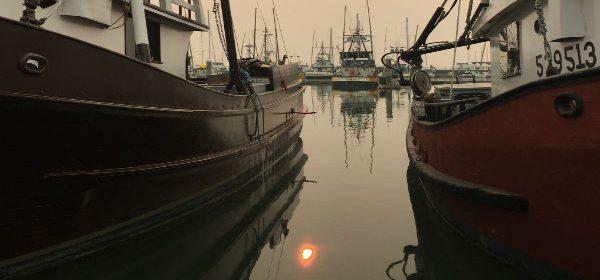 Ships and smoky skies