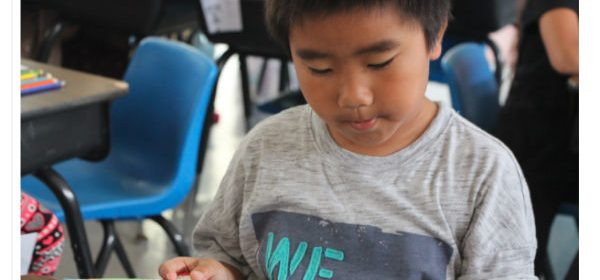 Elijah Thao, 2nd Grader at Grant School, getting ready for the Read-a-Thon in the after school program. [Photo provided by Grant School]