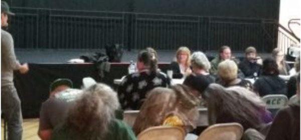 Audience at the Mateel last night. [Staff photo]