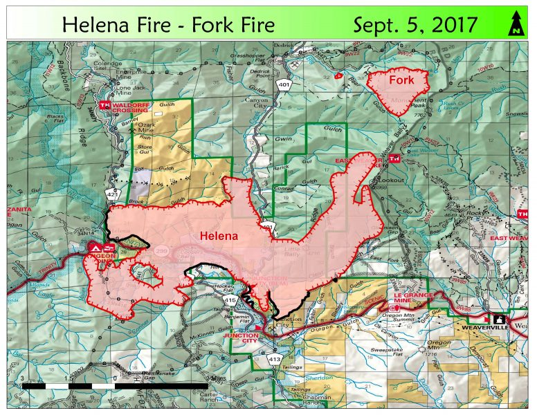 Map of the Helena and Fork Fires