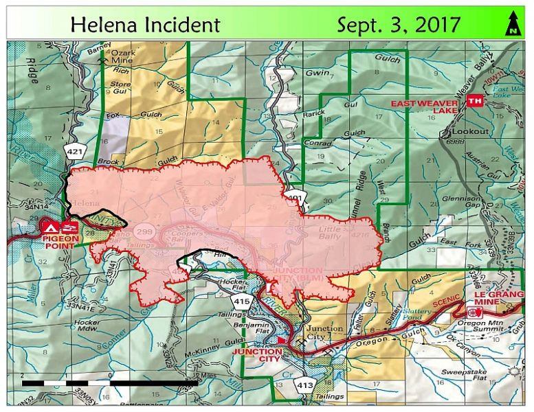 UPDATE 1151 am Road Closures etc Helena and Fork Fires Maps