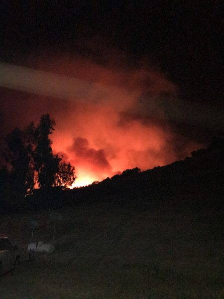 Major fire burns along Road J in Mendocino County.