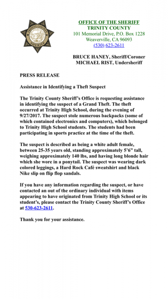 Press release TCSO