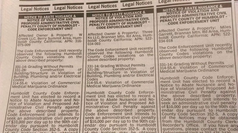 Public notices of Marijuana Planning Department in the TImes Standard
