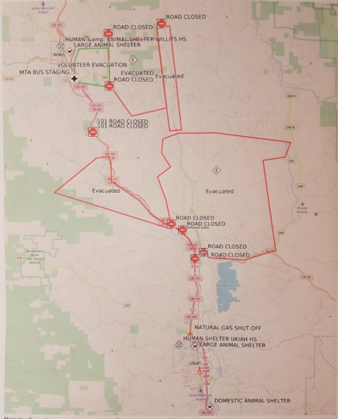 Map of the Redwood Complex evacuations from the Mendocino Sheriff