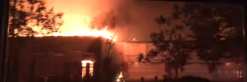 Screengrab from firefighters view of Santa Rosa burning