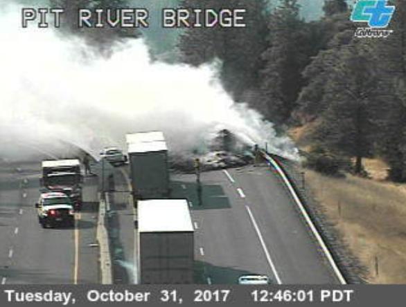 Hay truck on fire