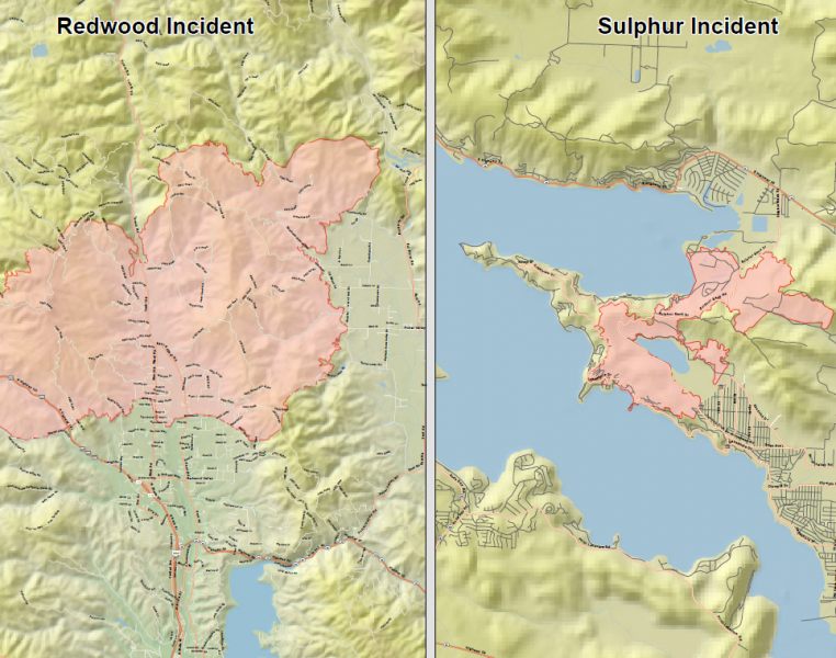 Maps Of The Mendocino Lake Sonoma And Napa County Fires