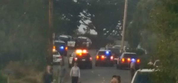 A large law enforcement presence in Manila about 6 p.m.