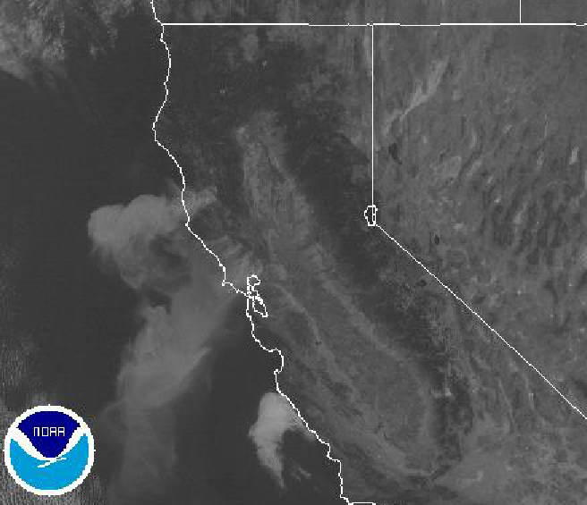 NOAA's Satellite image shows smoke as of 10 a.m. Pouring off fires
