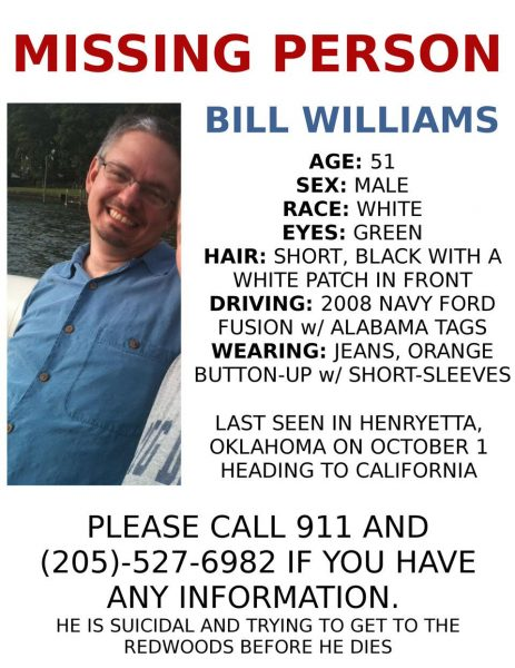 missing person poster for Bill Williams