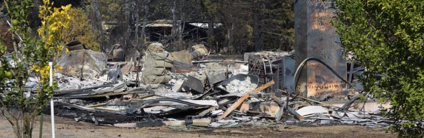 A burned home in the Mendocino fires as seen yesterday.