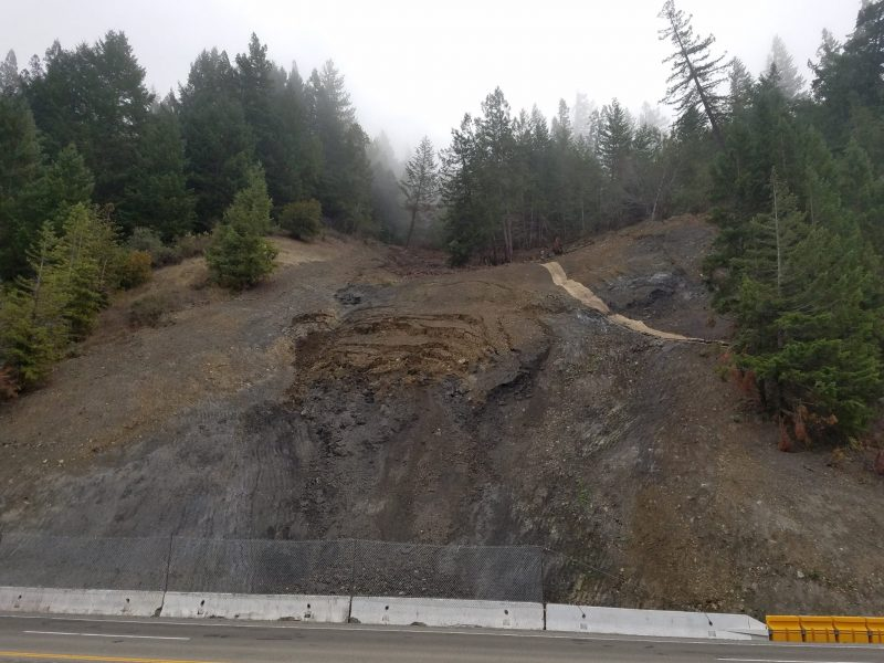 Slide on Hwy 101 near Piercy