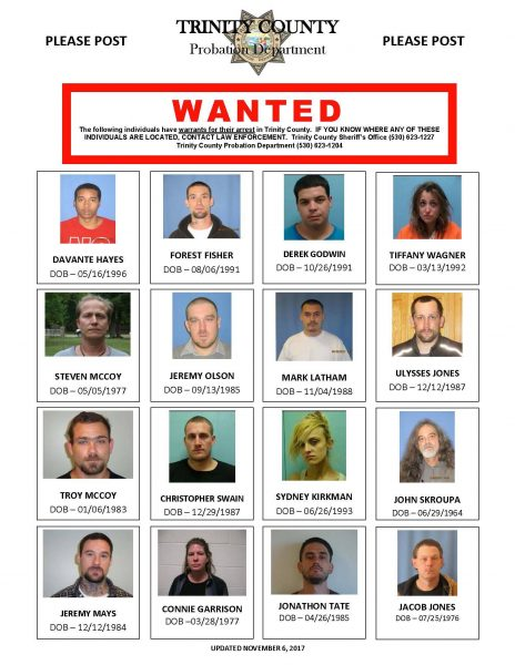 Trinity COunty's most wanted 11/6/17