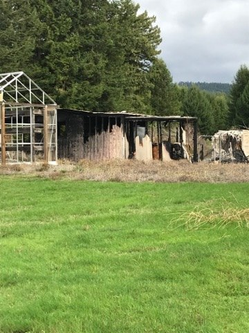 a burned shed