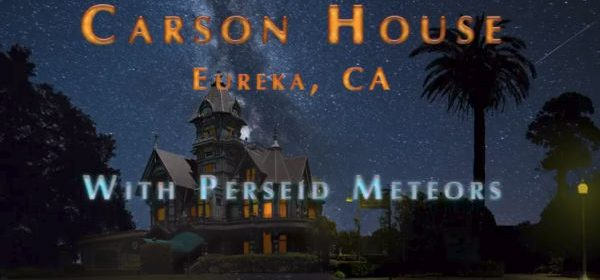 Carson house and meteor shower by David Wilson
