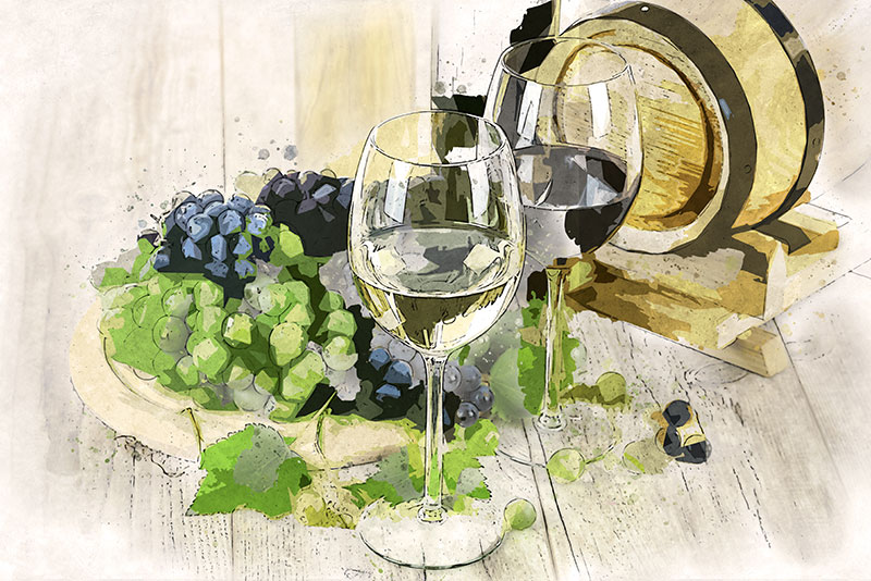 Glasses of wine illustration