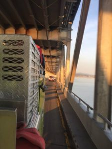 The Richmond Bridge as seen from a Humboldt County fire truck headed south to the fires near Los Angeles.