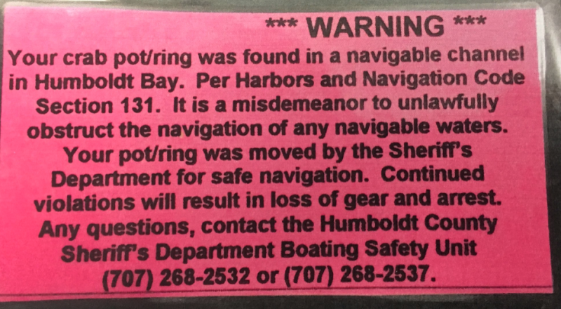 Crabbing notice
