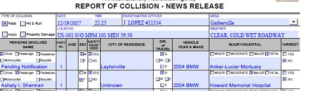 CHP Traffic Collision report