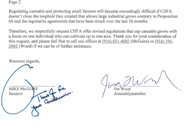 Letter tweeted from Senator McGuire, Assemblymember Wood cannabis one acre cap