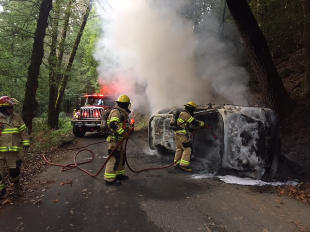 Car fire on Chemise Mountain Road.