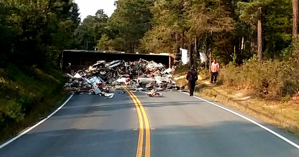Overturned semi on Hwy 20.