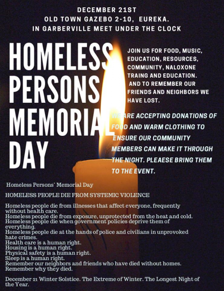 Homeless Persons Memorial Day Poster