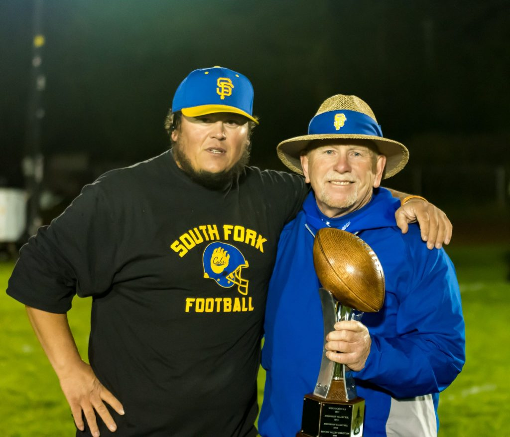 Andy Olsen with Karl Terril when South Fork High School's 2017 football team won the championship.