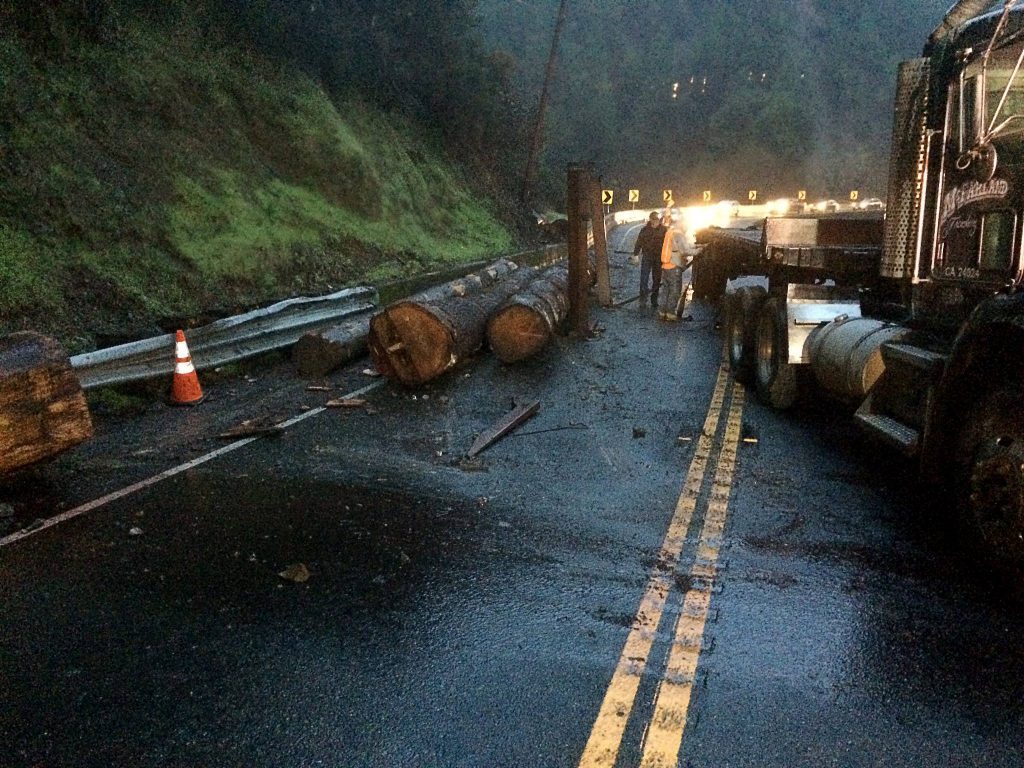 Logging truck accident Caltrans