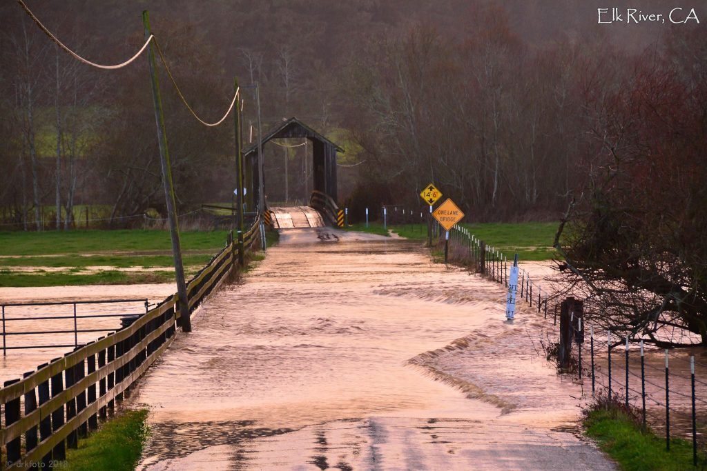 flooding by a covered bridge