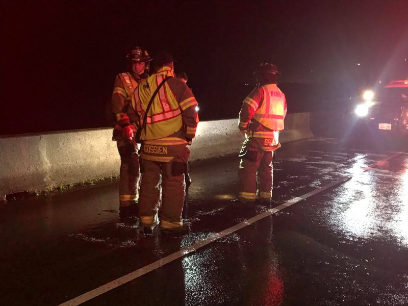 Humboldt Bay Fire at the scene of a traffic accident caused by hail