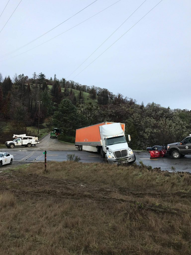 CHP photos of semi stuck on Alderpoint Road at Upper Sawmill