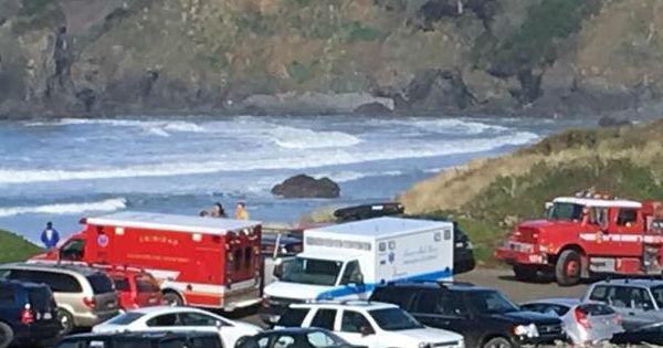 Ambulance and fire trucks at Trinidad Beach.