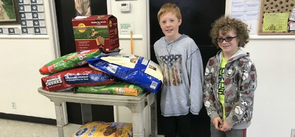 Pet food and two boys
