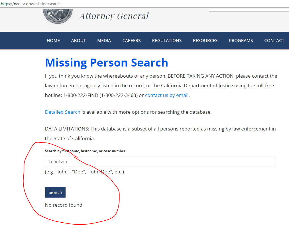 Missing person search online